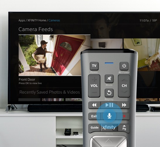 X1 Remote displayed in front of TV showing Xfinity Home cameras